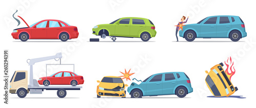 Foto op Aluminium Cartoon cars Car accident. Damaged transport on the road repair service insurances vehicle vector illustrations in cartoon style. Accident crash car, emergency broken and insurance auto