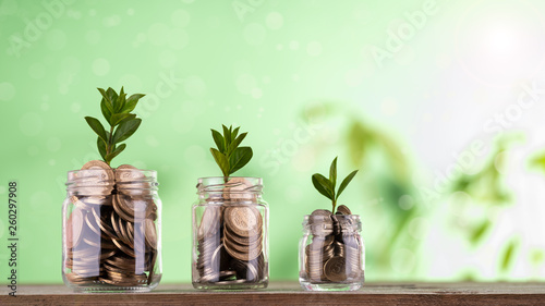 The concept of deposit accumulation, the concept of money growth, Turkish curren Canvas Print