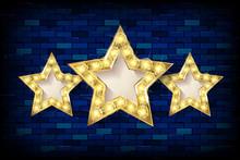 Three Golden Stars Against A B...