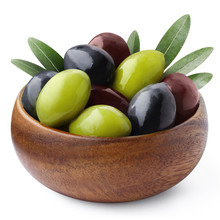 Delicious Black, Green And Red Olives With Leaves In A Wooden Bowl, Isolated On White Background