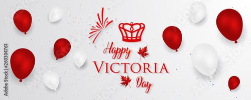 Fotografia Happy Victoria Day - Victoria Day icon with Canada flag and crown