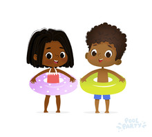 Afro American Girl And Boy In Joy Swimming Pool. Fun Summer Vacation On Sea. Character Children Birthday Party. Happy Child In Swimsuit Relax With Ring. Flat Cartoon Vector Illustration.