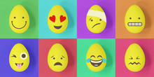 Easter Emoji Eggs On A Colourful Background Of Squares