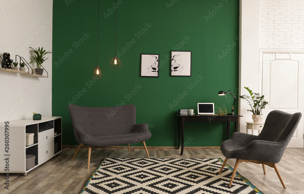 Fototapety, obrazy: Modern living room interior with workplace near green wall