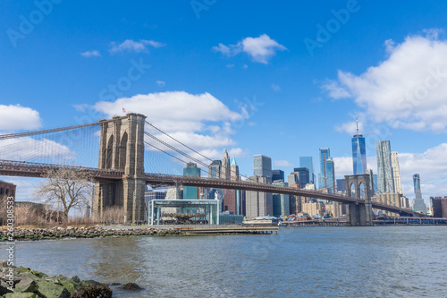 Fototapety, obrazy: Brooklyn Bridge with Manhattan downtown and Cityscape on sunny day with clear blue sky New York USA