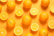 Leinwandbild Motiv Flat lay composition with ripe oranges on color background