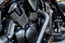 The Powerful Engine Of A Modern Motorcycle Closeup. The Layout Of The Motor