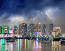 Downtown San Diego With Storm ...