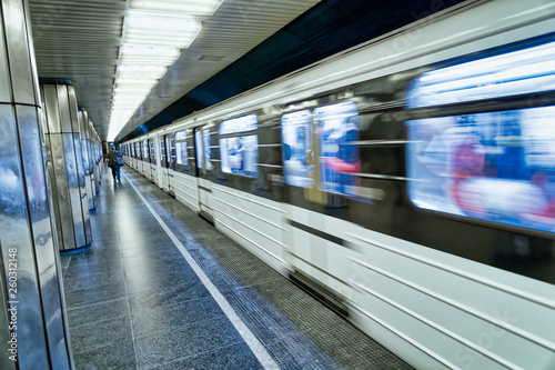 Foto auf AluDibond Budapest Budapest Subway Train speeding up in the station. Transportation concept