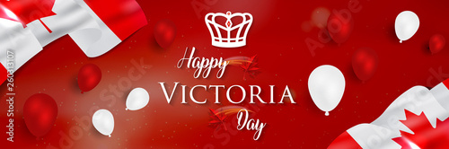 Fototapeta Happy Victoria Day - Victoria Day icon with Canada flag and crown