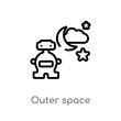 outline outer space vector icon. isolated black simple line element illustration from artificial intellegence concept. editable vector stroke outer space icon on white background