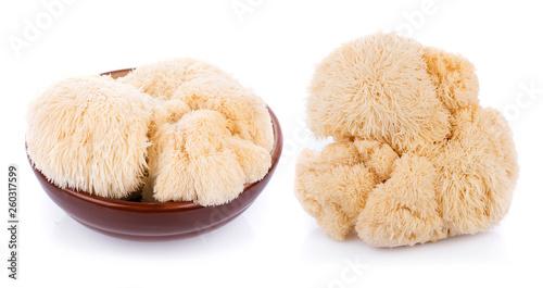 Fotografía  lion mane mushroom isolated on white background
