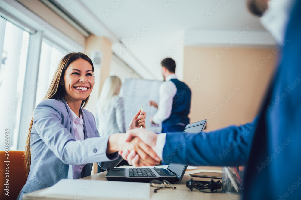Fototapety, obrazy: Close-up of business people handshaking