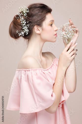Valokuvatapetti Beautiful  girl, isolated on a powdery  background, emotions, cosmetics