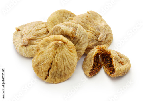 Turkish dried figs isolated on white background - Buy this stock