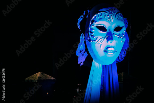 Photo  Panjim, India - View of Blue Lady Mask Art of the traditional Goa carnival on March 02, 2019
