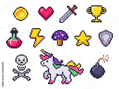 Fotografía  Pixel game items