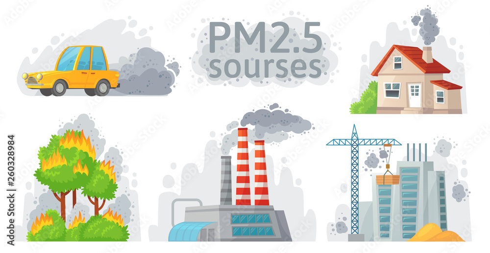 Fototapeta Air pollution source. PM 2.5 dust, dirty environment and polluted air sources infographic vector illustration