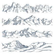Mountains Landscape Engraving. Vintage Hand Drawn Sketch Of Hiking Or Climbing On Mountain. Nature Highlands Vector Illustration