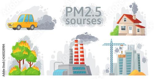Papiers peints Cartoon voitures Air pollution source. PM 2.5 dust, dirty environment and polluted air sources infographic vector illustration