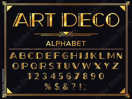 Art deco font. Golden 1920s decorative letters, vintage fashion typography and old gold alphabet vector set