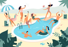 Swimming Pool Party. Summer Outdoors People In Swimwear Swim Together And Rubber Ring Floating In Pool Water Vector Illustration
