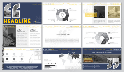 Template Presentation Blue Yellow White Background Multipurpose
