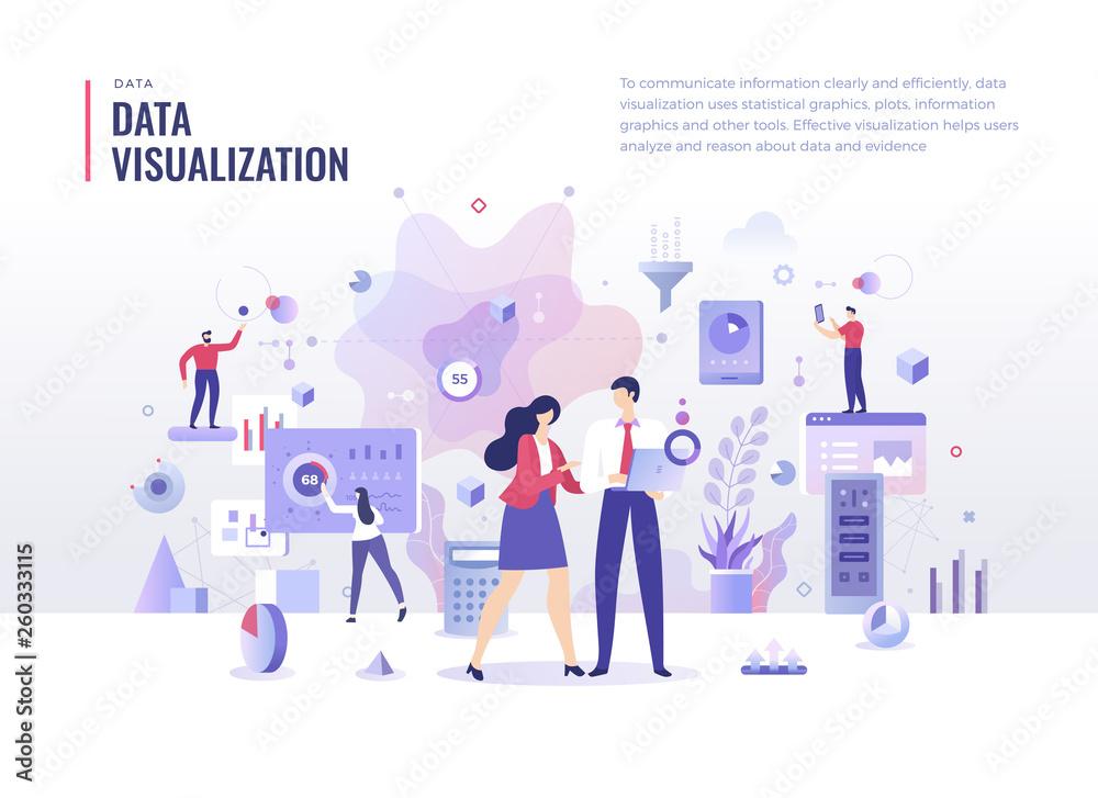 Fototapety, obrazy: Data Visualization Flat Illustration Concept