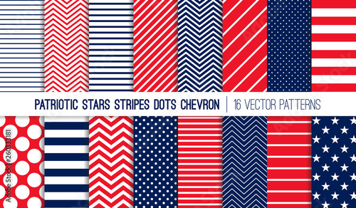 Photo  Patriotic Red White Blue Stars, Stripes, Polka Dots and Chevron Vector Patterns