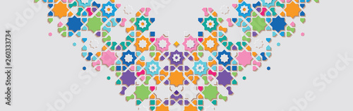 Ornamental colorful patterned stone relief in arabic architectural style of islamic mosque Canvas-taulu