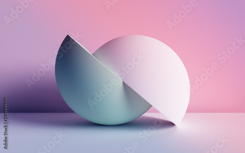 Stampa su Tela  3d render, abstract background, pastel neon primitive geometric shapes, balls, s
