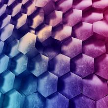 3d Abstract Geometric Background, Metallic Hexagonal Honeycombs, Modern Purple Neon Wallpaper, Trendy Technological Texture