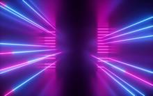 3d Render, Pink Blue Neon Line...