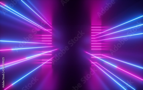Fotografia 3d render, pink blue neon lines, geometric shapes, virtual space, empty room, ul
