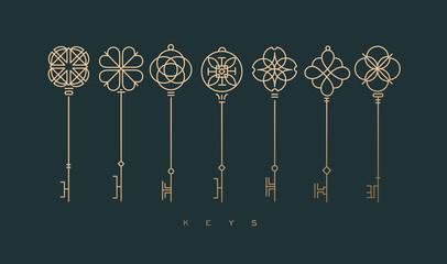 Moderna kolekcija grafičkih ključeva zelena
