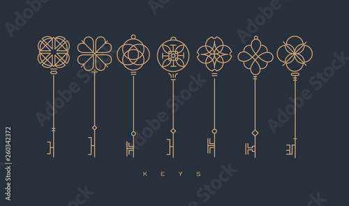 Pinturas sobre lienzo  Modern graphic key collection gray