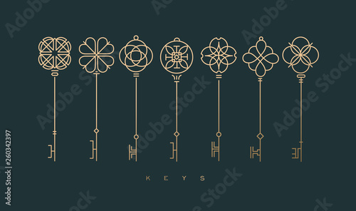 Fotografie, Obraz  Modern graphic key collection green