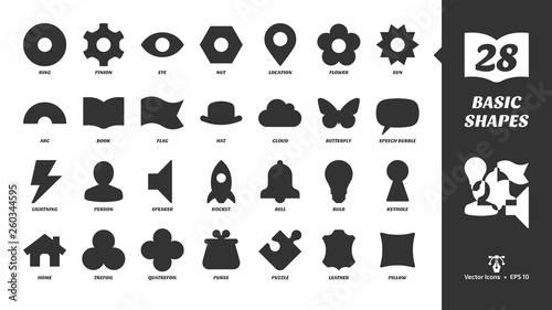 Fotografie, Obraz  Basic glyph shapes icon set with simple silhouette ring, pinion, eye, nut, location, flower, sun, arc, book, flag, hat, cloud butterfly, speech bubble and more black symbols