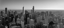 Aerial Panorama Of The Chicago Skyline In Black And White