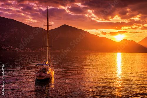 Foto auf AluDibond Violett rot Sunset view of Kotor's bay, Montenegro.