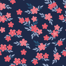 Seamless Pattern With Pink Flowers And Leaves On Dark Background. Vector Floral Pattern. Floral Illustration For Wallpaper, Card Or Fabric