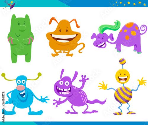 Poster Creatures Cartoon Fantasy Monster and Alien Characters set