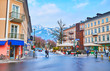 BAD ISCHL, AUSTRIA - FEBRUARY 26, 2019: Schropferplatz square with stores and lounge zone in the middle, on February 26 in Bad Ischl.
