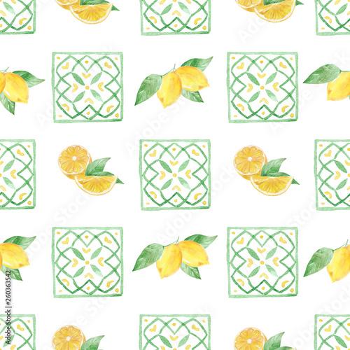 Türaufkleber Künstlich Watercolor handmade seamless pattern with yellow lemon fruit slices.