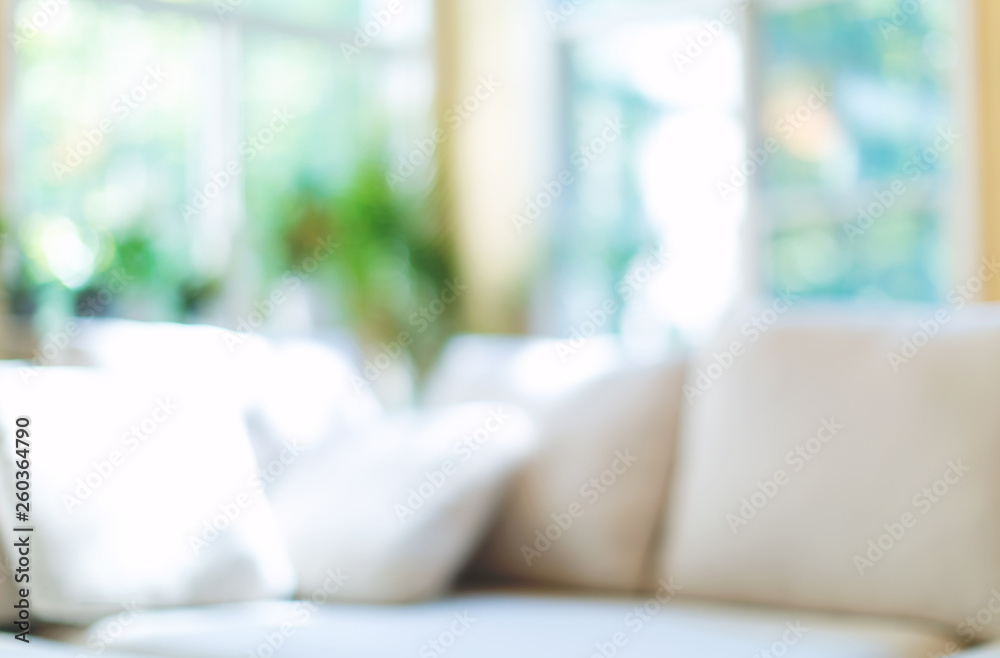 Fototapety, obrazy: Blurred home interior background with couch and natural light