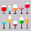 wineglasses with alcohol, a collection of isolated icons. vector illustration.