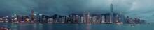 Panorama Of Hong Kong City Skyline  At Night At Taipan At Typhoon . View From Across Victoria Harbor HongKong