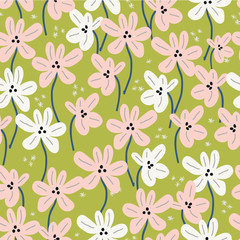 Seamless floral pattern with ditsy modern hand drawn flowers for spring and s...