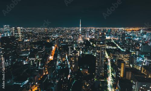 Keuken foto achterwand Eigen foto Aerial view of Tokyo Tower at night in Japan