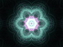 Red And Blue Fractal Bubble Pattern, Digital Artwork For Creativ
